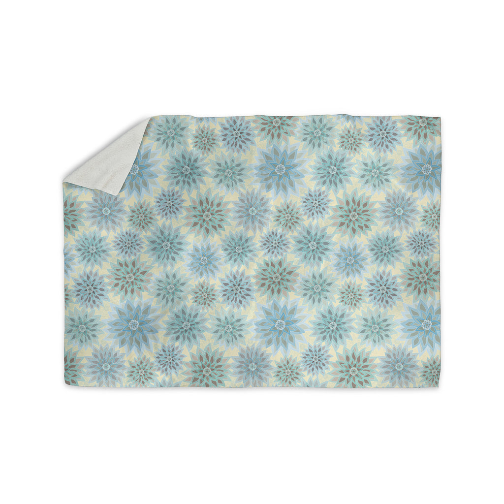 "Julia Grifol ""My Delicate Flowers"" Blue Green Sherpa Blanket - KESS InHouse  - 1"