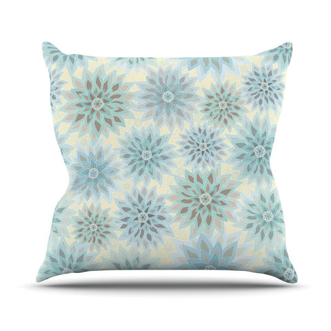 "Julia Grifol ""My Delicate Flowers"" Blue Green Outdoor Throw Pillow - KESS InHouse  - 1"