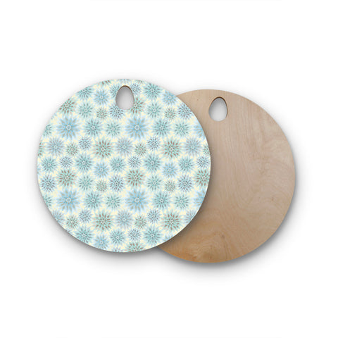 "Julia Grifol ""My Delicate Flowers"" Blue Green Round Wooden Cutting Board"