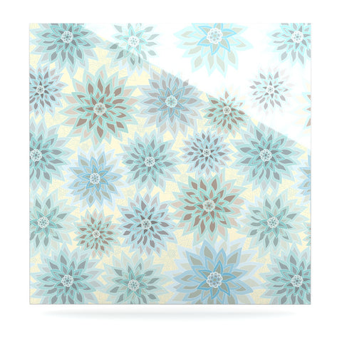 "Julia Grifol ""My Delicate Flowers"" Blue Green Luxe Square Panel - KESS InHouse  - 1"