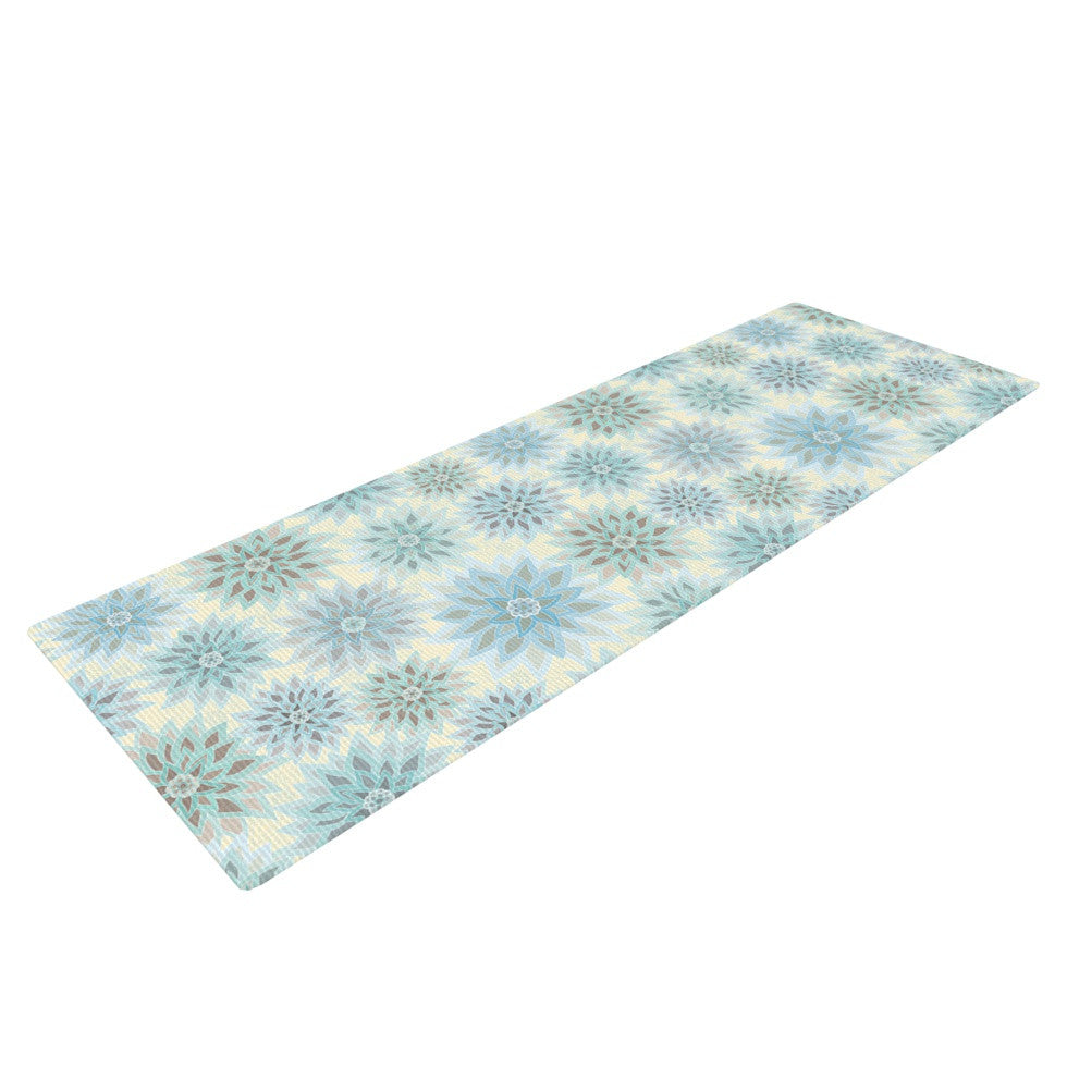 "Julia Grifol ""My Delicate Flowers"" Blue Green Yoga Mat - KESS InHouse  - 1"