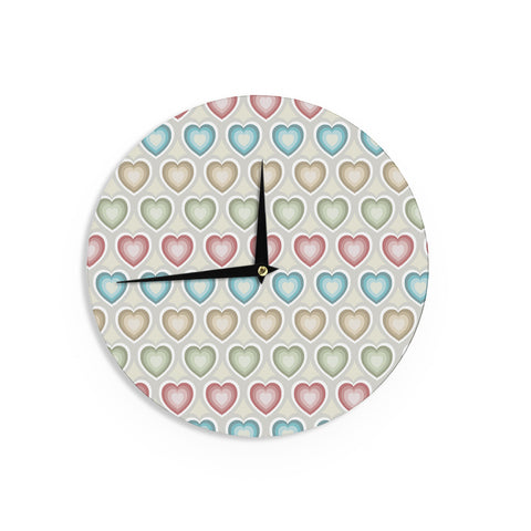 "Julia Grifol ""My Hearts"" Multicolor Wall Clock - KESS InHouse"