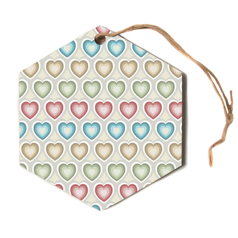 "julia grifol ""My Hearts"" Multicolor Hexagon Holiday Ornament"