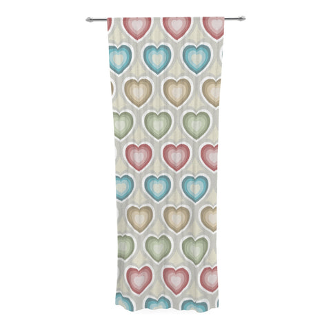 "Julia Grifol ""My Hearts"" Multicolor Decorative Sheer Curtain - KESS InHouse  - 1"