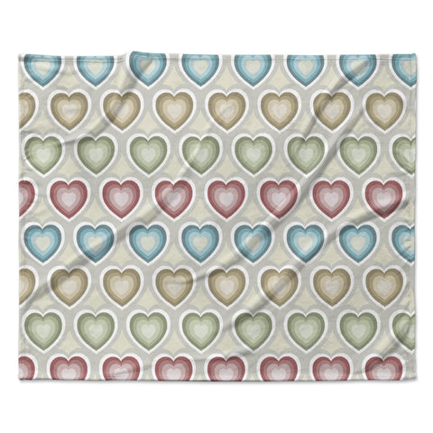 "Julia Grifol ""My Hearts"" Multicolor Fleece Throw Blanket"