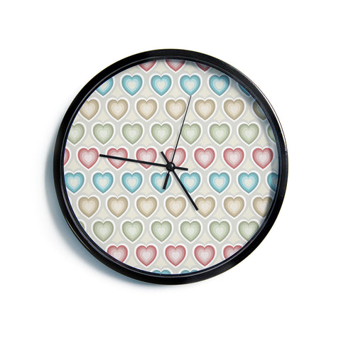 "Julia Grifol ""My Hearts"" Multicolor Modern Wall Clock"