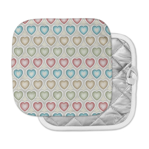 "Julia Grifol ""My Hearts"" Multicolor Pot Holder"