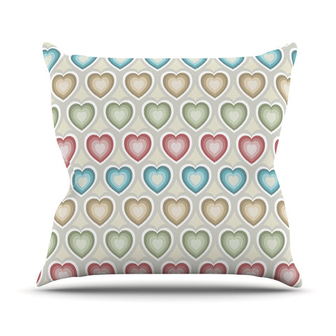 "Julia Grifol ""My Hearts"" Multicolor Outdoor Throw Pillow - KESS InHouse  - 1"