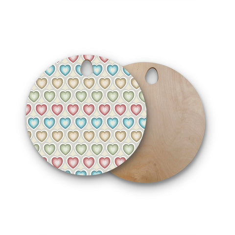 "Julia Grifol ""My Hearts"" Multicolor Round Wooden Cutting Board"
