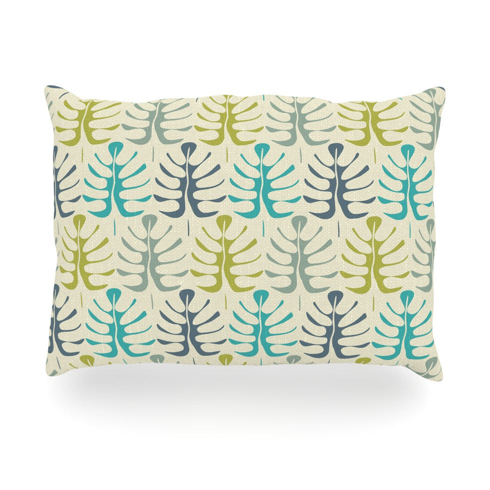 "Julia Grifol ""My Leaves"" Teal Green Oblong Pillow - KESS InHouse"