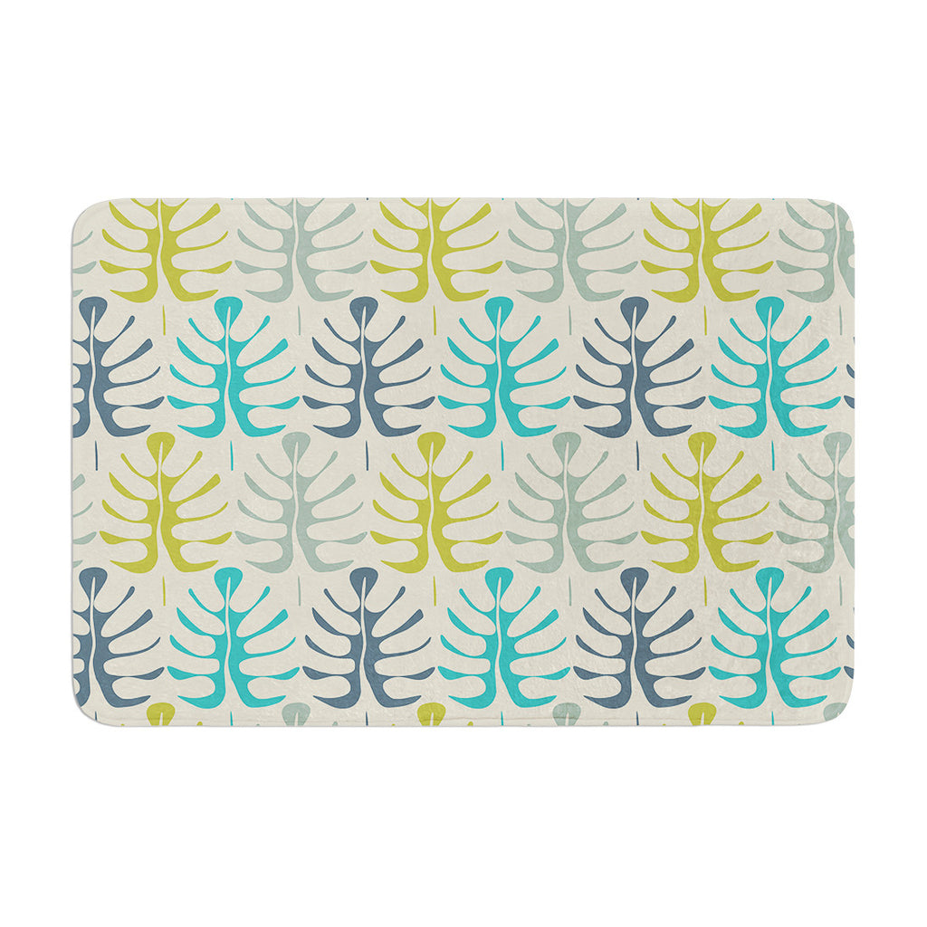 "Julia Grifol ""My Leaves"" Teal Green Memory Foam Bath Mat - KESS InHouse"
