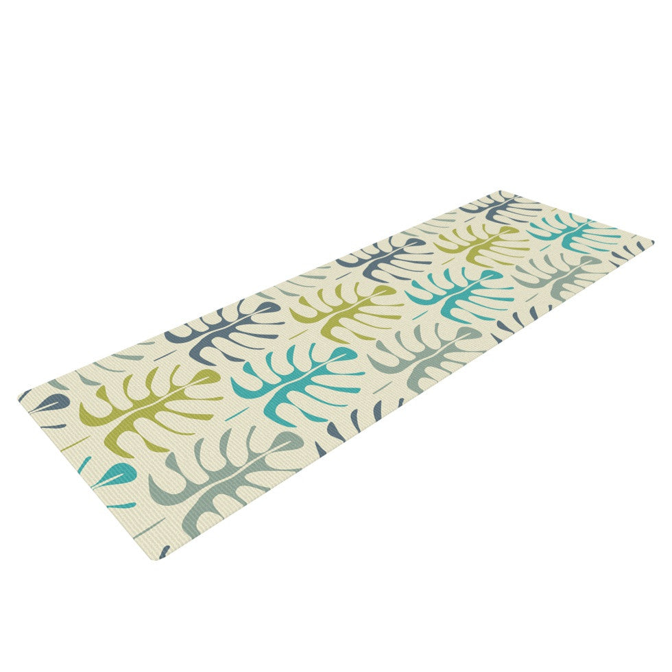 "Julia Grifol ""My Leaves"" Teal Green Yoga Mat - KESS InHouse  - 1"