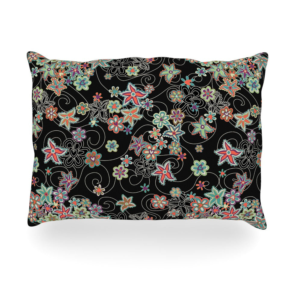 "Julia Grifol ""My Small Flowers"" Black Floral Oblong Pillow - KESS InHouse"