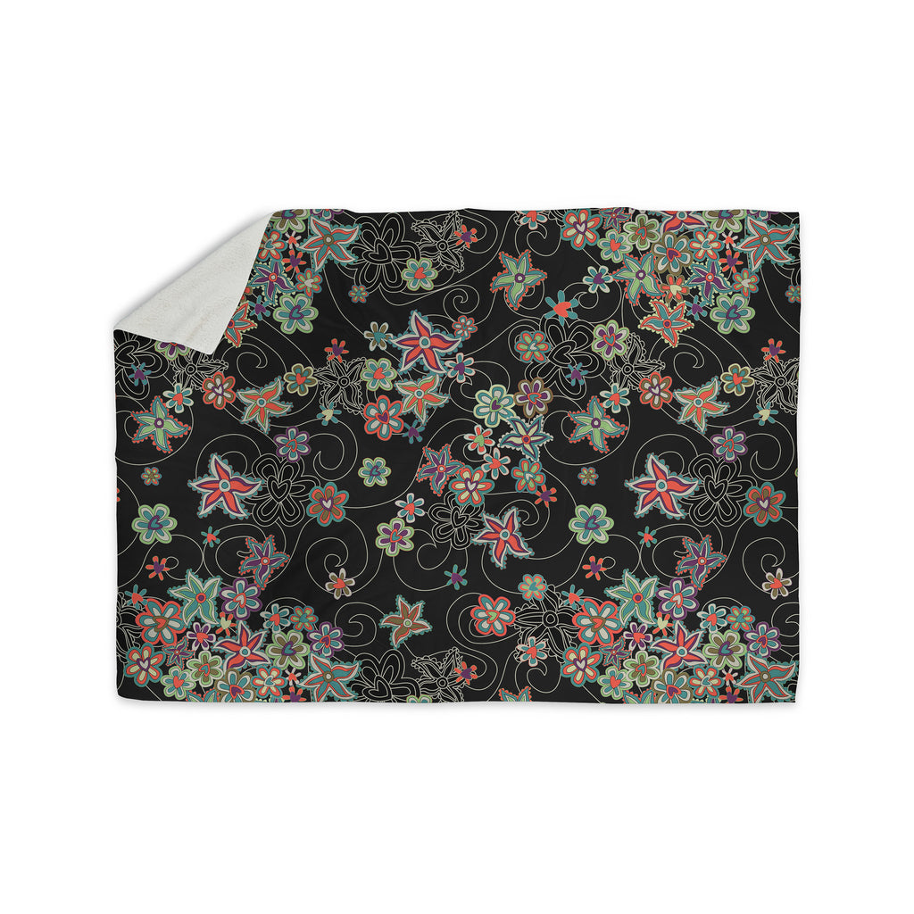 "Julia Grifol ""My Small Flowers"" Black Floral Sherpa Blanket - KESS InHouse  - 1"
