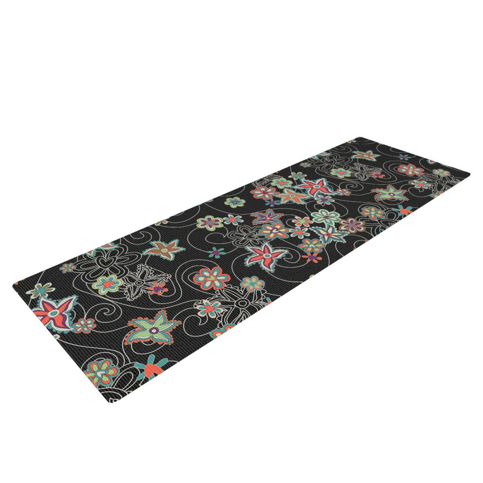 "Julia Grifol ""My Small Flowers"" Black Floral Yoga Mat - KESS InHouse  - 1"
