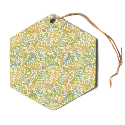 "julia grifol ""Warm Tropical Leaves"" Green Orange Hexagon Holiday Ornament"