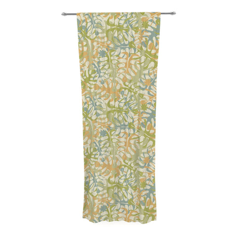 "Julia Grifol ""Warm Tropical Leaves"" Green Orange Decorative Sheer Curtain - KESS InHouse  - 1"