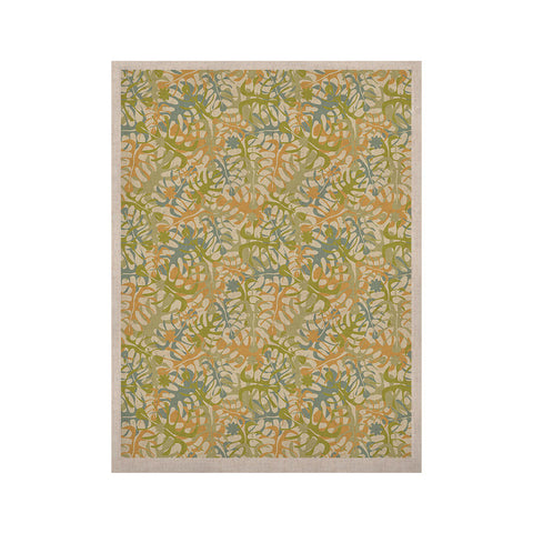 "Julia Grifol ""Warm Tropical Leaves"" Green Orange KESS Naturals Canvas (Frame not Included) - KESS InHouse  - 1"