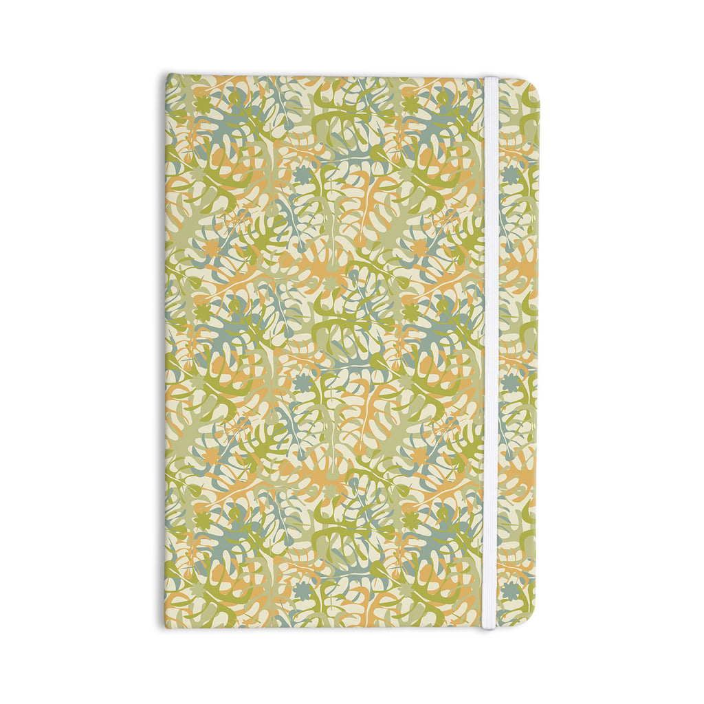 "Julia Grifol ""Warm Tropical Leaves"" Green Orange Everything Notebook - KESS InHouse  - 1"