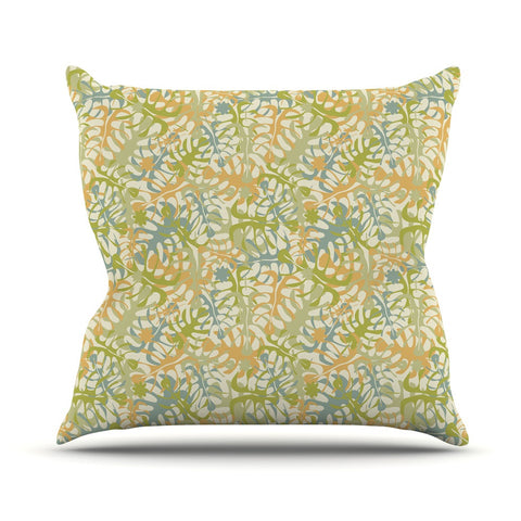 "Julia Grifol ""Warm Tropical Leaves"" Green Orange Outdoor Throw Pillow - KESS InHouse  - 1"