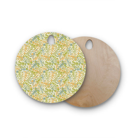 "Julia Grifol ""Warm Tropical Leaves"" Green Orange Round Wooden Cutting Board"