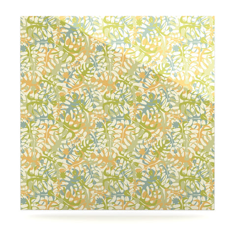 "Julia Grifol ""Warm Tropical Leaves"" Green Orange Luxe Square Panel - KESS InHouse  - 1"