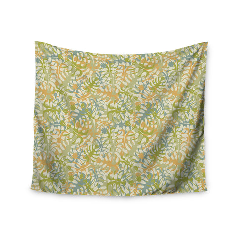 "Julia Grifol ""Warm Tropical Leaves"" Green Orange Wall Tapestry - KESS InHouse  - 1"