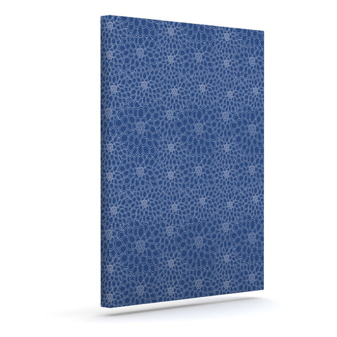 "Julia Grifol ""White Flowers on Blue"" Navy Blue Canvas Art - KESS InHouse  - 1"