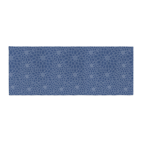 "Julia Grifol ""White Flowers on Blue"" Navy Blue Bed Runner - KESS InHouse"