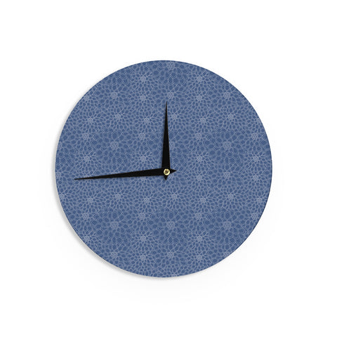 "Julia Grifol ""White Flowers on Blue"" Navy Blue Wall Clock - KESS InHouse"