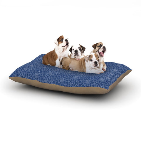 "Julia Grifol ""White Flowers on Blue"" Navy Blue Dog Bed - KESS InHouse  - 1"