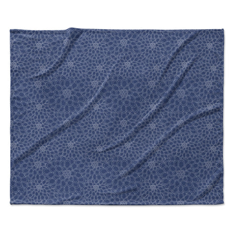 "Julia Grifol ""White Flowers on Blue"" Navy Blue Fleece Throw Blanket"