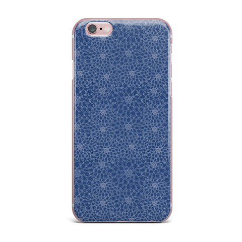 "Julia Grifol ""White Flowers on Blue"" Navy Blue iPhone Case - KESS InHouse"