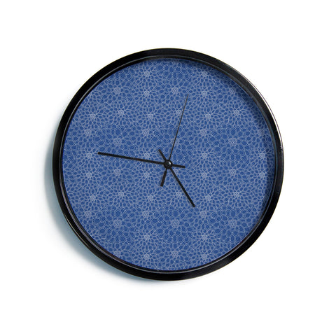 "Julia Grifol ""White Flowers on Blue"" Navy Blue Modern Wall Clock"