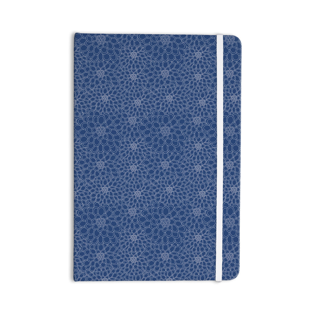 "Julia Grifol ""White Flowers on Blue"" Navy Blue Everything Notebook - KESS InHouse  - 1"