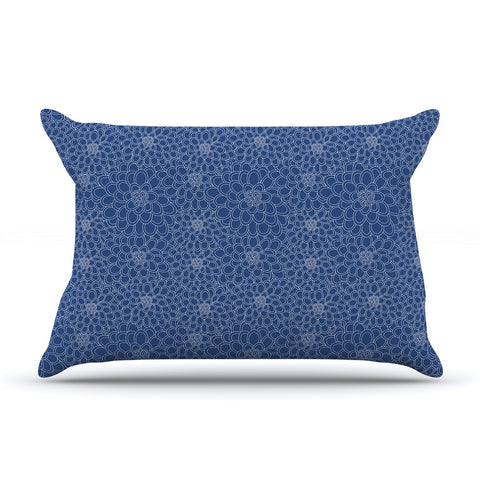 "Julia Grifol ""White Flowers on Blue"" Navy Blue Pillow Sham - KESS InHouse"