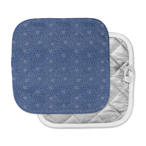 "Julia Grifol ""White Flowers on Blue"" Navy Blue Pot Holder"