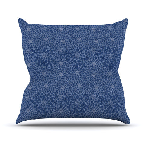 "Julia Grifol ""White Flowers on Blue"" Navy Blue Outdoor Throw Pillow - KESS InHouse  - 1"