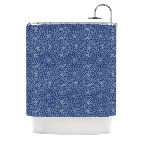 "Julia Grifol ""White Flowers on Blue"" Navy Blue Shower Curtain - KESS InHouse"