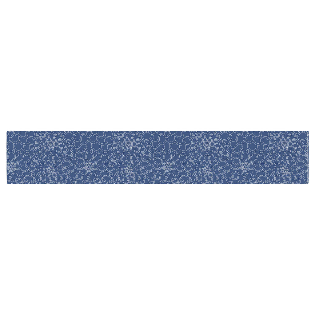 "Julia Grifol ""White Flowers on Blue"" Navy Blue Table Runner - KESS InHouse  - 1"