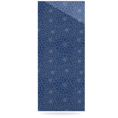 "Julia Grifol ""White Flowers on Blue"" Navy Blue Luxe Rectangle Panel - KESS InHouse  - 1"