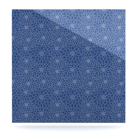"Julia Grifol ""White Flowers on Blue"" Navy Blue Luxe Square Panel - KESS InHouse  - 1"