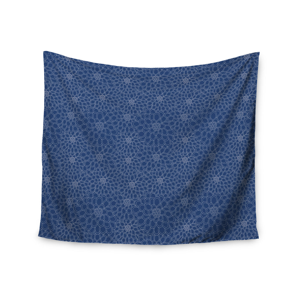 "Julia Grifol ""White Flowers on Blue"" Navy Blue Wall Tapestry - KESS InHouse  - 1"