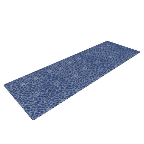 "Julia Grifol ""White Flowers on Blue"" Navy Blue Yoga Mat - KESS InHouse  - 1"