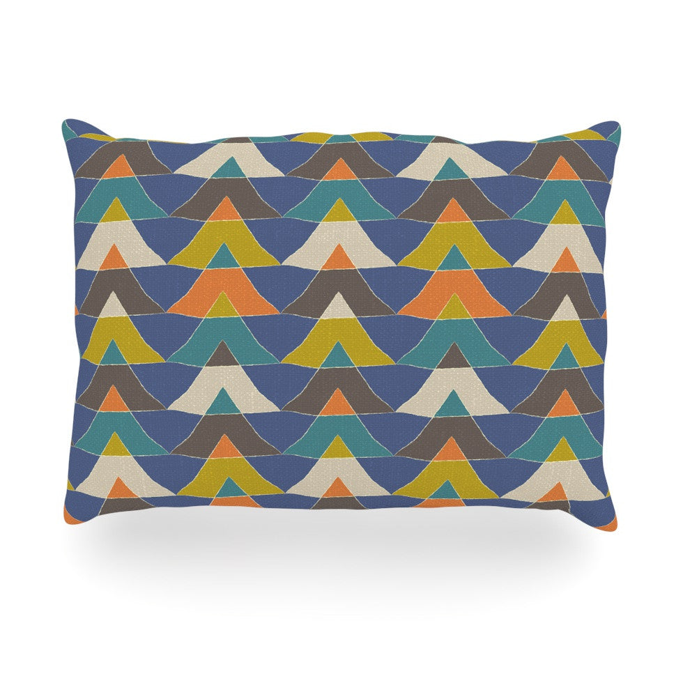 "Julia Grifol ""Colorful Triangles"" Blue Multicolor Oblong Pillow - KESS InHouse"