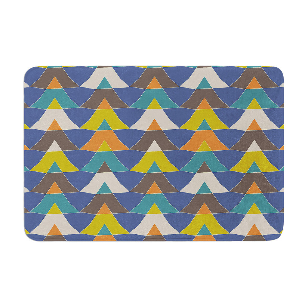 "Julia Grifol ""Colorful Triangles"" Blue Multicolor Memory Foam Bath Mat - KESS InHouse"