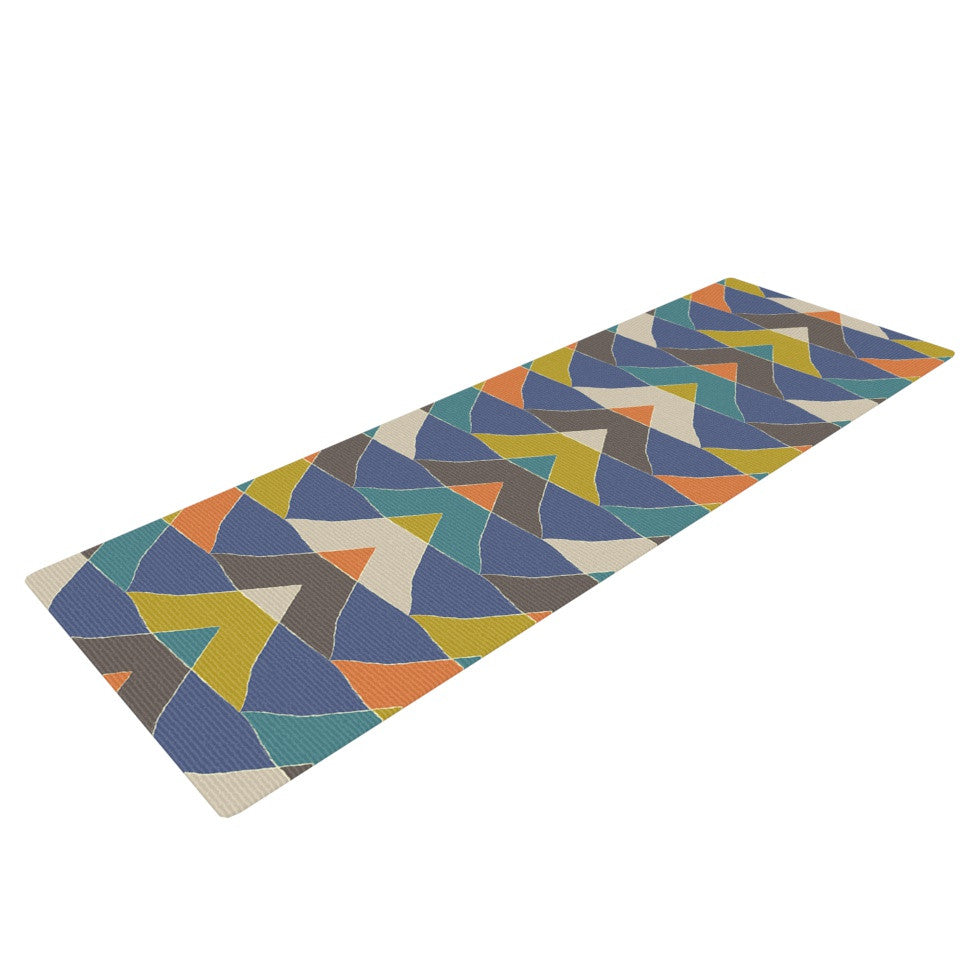 "Julia Grifol ""Colorful Triangles"" Blue Multicolor Yoga Mat - KESS InHouse  - 1"