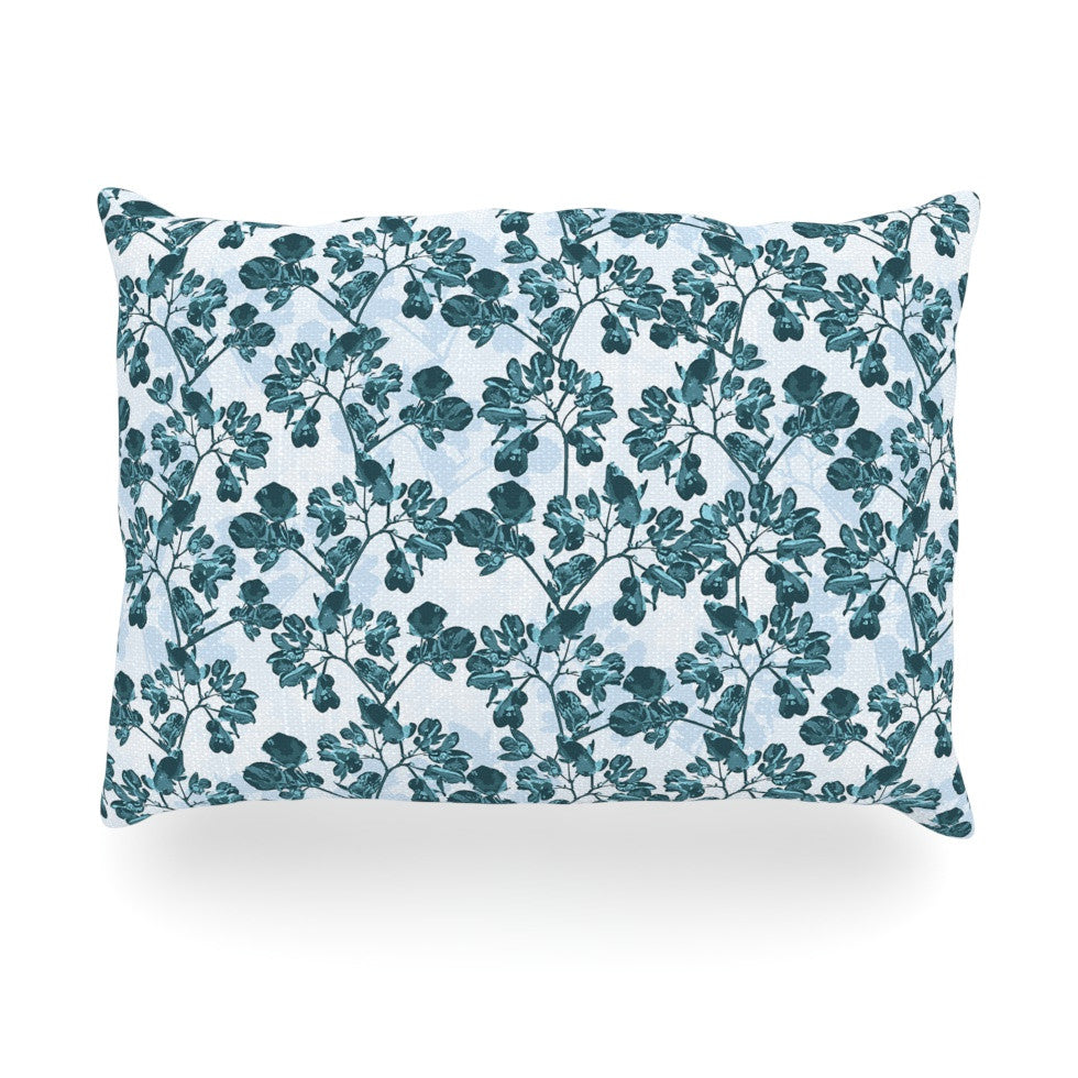 "Julia Grifol ""Green Flowers"" Teal Oblong Pillow - KESS InHouse"