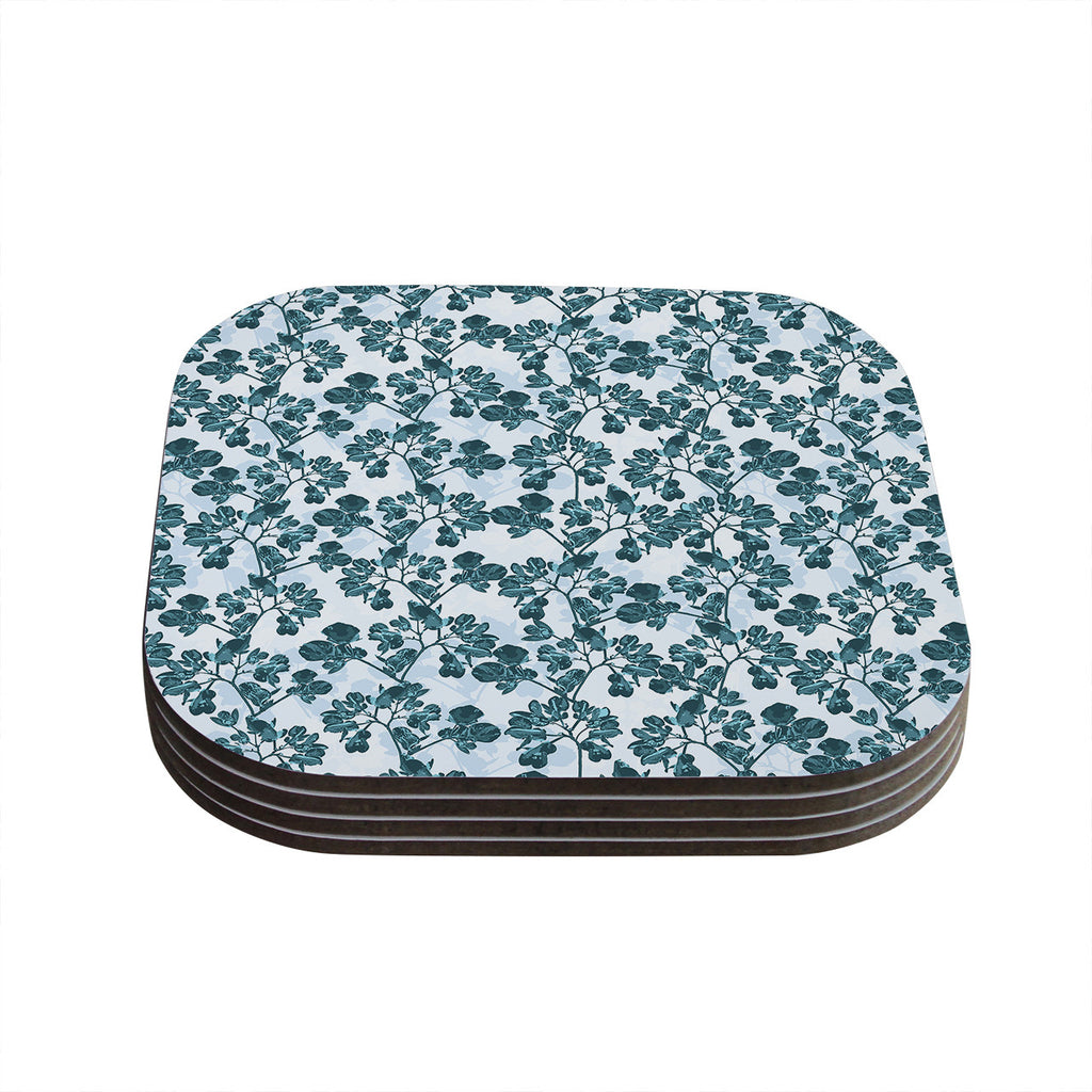 "Julia Grifol ""Green Flowers"" Teal Coasters (Set of 4)"