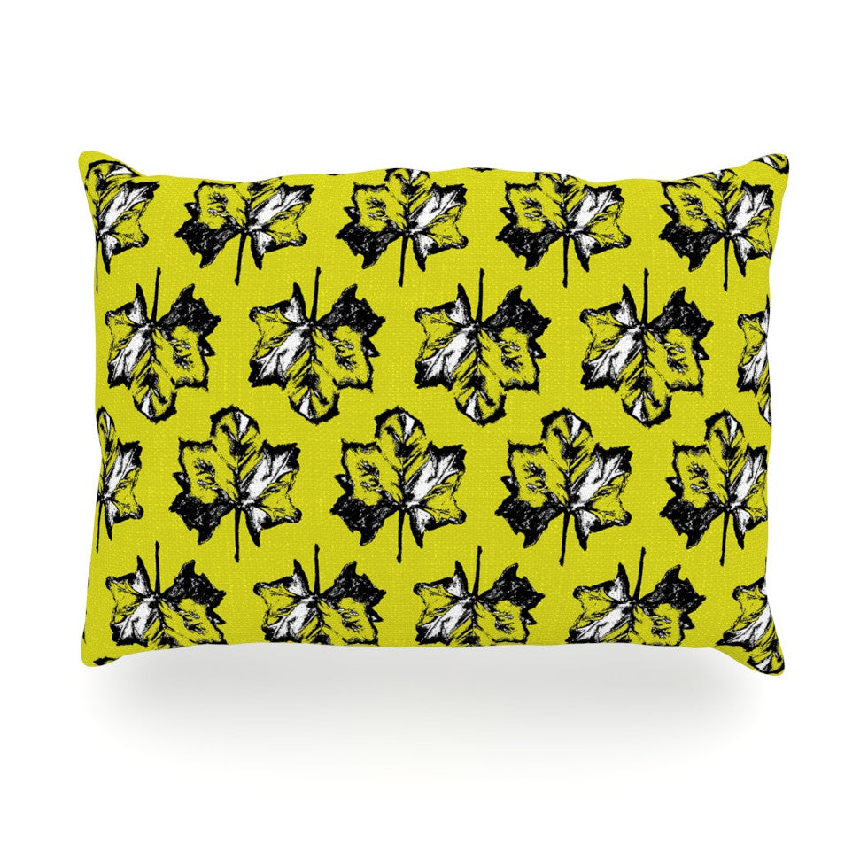 "Julia Grifol ""Green Tree Leaves"" Yellow Oblong Pillow - KESS InHouse"